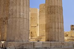 Glowing pillars of the parthenon Stock Photos