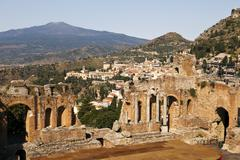 Taormina viewpoint with theatre Stock Photos