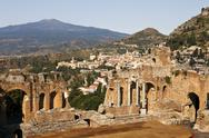 Stock Photo of taormina viewpoint with theatre
