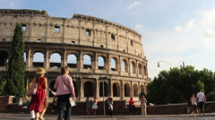 Activity upper level looking at Colosseum Stock Footage