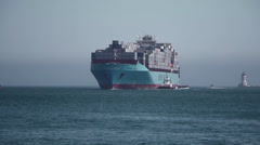 Container Ship Enters Port Stock Footage