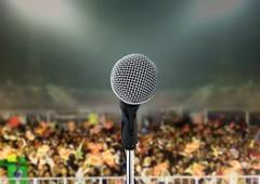 microphone in live concert - stock photo