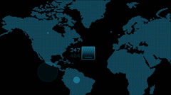 Global GPS & data detect schedule,earth map & military Radar GPS screen display Stock Footage