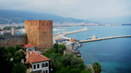 Stock Video Footage of Kizil Kule - Red Tower, the symbol of Alanya, Turkey