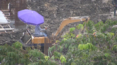 Mechanical Digger with Sunshade p278 Stock Footage