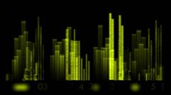 Video taajuuskorjain, musiikki rytmi Volume, kaiuttimet aaltojen spektri, sydän-korko. Arkistovideo