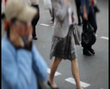 Mini city timelapse of people crowd walk on crossroad pedestrian, click for HD Stock Footage