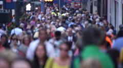 Crowd of people walking street sidewalk 1080P 60fps Stock Footage