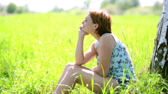 Happy woman in a peaceful and happy mood contemplating on nature. Stock Footage
