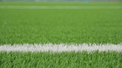 White line of the soccer field. Close-up horizontal slider shot Stock Footage
