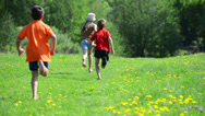 Stock Video Footage of happy young children  running around the field on nature