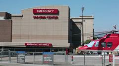 Hospital Trauma Center Emergency medivac helicopter HD 9766 Stock Footage