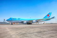 Korean Air Boeing 747 goes to the parking stand in Vaclav Havel - stock photo