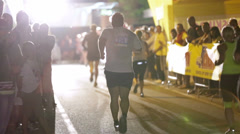 Competitors entering the sprint line in Night run Vrhnika 2013 Stock Footage