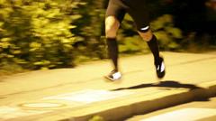 Runners legs at Night run Vrhnika 2013 Stock Footage