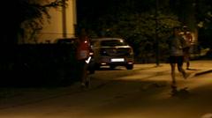 Running on dark streets at Night run Vrhnika 2013 Stock Footage