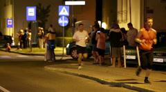 People on street at Night run Vrhnika 2013 Stock Footage