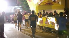 Finish line at Night run competition Vrhnika 2013 Stock Footage