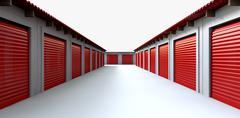 storage lockers perspective - stock illustration