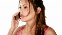 A lady quarreling on the telephone Stock Footage