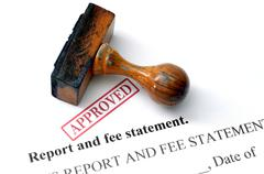 Report and fee statement Stock Photos