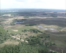 Aerial large area of heathland with fens in Noord-Brabant, The Netherlands Stock Footage