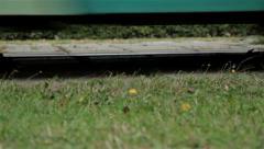 Tramway. Close up, horizontal slider shot Stock Footage