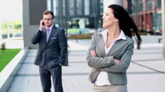 Portrait of beautiful confident businesswoman in the city HD Stock Footage