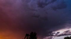 4K UHD NTSC Dramatic sunset sky day to night powerful lightning time lapse Stock Footage