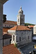 All saints church and cathedral st mark, from marco polo house, korcula old t Stock Photos