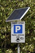 solar energy parking meter, makarska, croatia - stock photo