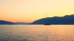 Sailing boat on beautiful sunset Stock Footage
