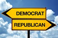 Stock Photo of democrat or republican, opposite signs