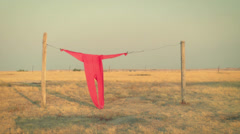 Clothesline and Red Long Johns Stock Footage