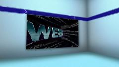 WEB in Monitor and Room, with Final White Transition Stock Footage