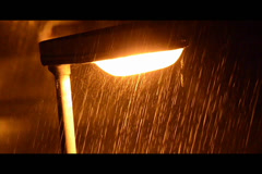 Lamp in rain - stock footage
