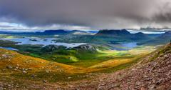 Panoramic view of inverpolly mountains area in highlands of scotland Stock Photos