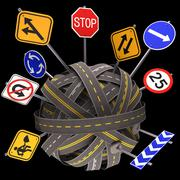 Road Sign Mess Way - stock illustration