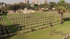 Christian cemetery-top shot Stock Footage
