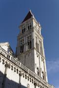 cathedral of st lawrence in john paul ii square, trogir, unesco, dalmatia, cr - stock photo