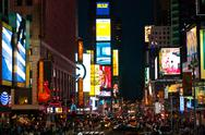 Stock Photo of Crowds at Times Square urban night scene