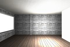 interior with bare concrete wall and wood floor - stock illustration