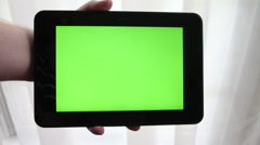 Tablet with Green screen, Swiping Finger  Stock Footage