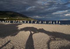 Umbrellas at croatia´s most famous beach the golden horn (zlatni rat) near b Stock Photos
