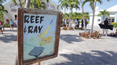 Grand turk island - cruise port reef sign Stock Footage