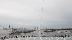 Leaving miami tail end of boat Stock Footage