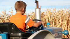 Rear angle of boy pretending to drive tractor Stock Footage