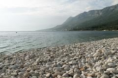 beautiful white rock ata beach of gradac beach, dalmatian coast, croatia - stock photo