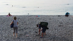 Metal detectors on a beach 2 Stock Footage