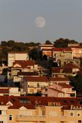 full moon over trogir, dalmatia, croatia, europe - stock photo